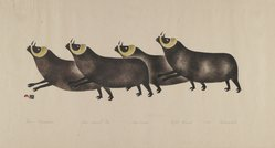 Osuitok Ipeelee (1923-2005). Four Musk Oxen, 1959. Stencil (sealskin), paper, 11 15/16 x 21 15/16 in. (30.3 x 55.8 cm). Brooklyn Museum, Dick S. Ramsay Fund, 60.58.2. © artist or artist's estate