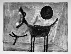 Rufino Tamayo (Mexican, 1899-1991). Howling Wolves. Lithograph on paper, 19 1/4 x 25 1/2 in. (48.9 x 64.8 cm). Brooklyn Museum, Gift of Marvin Small, 61.171.1. © D.R. Rufino Tamayo / Herederos / México. Fundación Olga y Rufino Tamayo, A.C.
