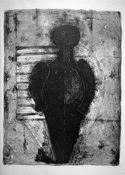 Rufino Tamayo (Mexican, 1899-1991). Figure in Illuminated Doorway. Lithograph on paper, 25 3/8 x 19 5/8 in. (64.5 x 49.8 cm). Brooklyn Museum, Gift of Marvin Small, 61.171.2. © D.R. Rufino Tamayo / Herederos / México. Fundación Olga y Rufino Tamayo, A.C.
