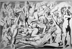 Reginald Marsh (American, 1898-1954). Nudes, 1947. Pen and Chinese ink wash, Sheet: 26 15/16 x 39 13/16 in. (68.4 x 101.1 cm). Brooklyn Museum, Gift of Mrs. Reginald Marsh, 61.237.1. © artist or artist's estate