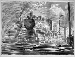 Reginald Marsh (American, 1898-1954). Locomotive, 1947. Chinese ink drawing with wash and charcoal on paper, Sheet: 22 1/8 x 29 7/8 in. (56.2 x 75.9 cm). Brooklyn Museum, Gift of Mrs. Reginald Marsh, 61.237.2. © artist or artist's estate