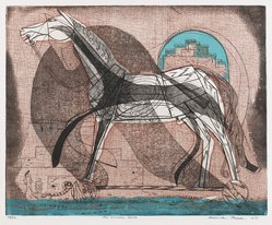Roderick Mead (American, 1900-1971). The Wooden Horse, 1951. Engraving with soft ground etching and color offset from assemblage, stencil, on paper, image: 9 3/8 x 11 5/8 in. (23.8 x 29.5 cm). Brooklyn Museum, Gift of Mrs. Roderick Mead, 61.238.1. © artist or artist's estate