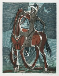 Roderick Mead (American, 1900-1971). Equestrian, 1953. Engraving with hard and soft ground etching color offset from woodcut, on paper, image: 11 3/4 x 8 7/8 in. (29.8 x 22.5 cm). Brooklyn Museum, Gift of Mrs. Roderick Mead, 61.238.3. © artist or artist's estate