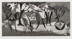 Roderick Mead (American, 1900-1971). Horned Animals, 1954. Engraving with soft ground etching and drypoint on paper, image: 8 3/4 x 17 3/4 in. (22.2 x 45.1 cm). Brooklyn Museum, Gift of Mrs. Roderick Mead, 61.238.4. © artist or artist's estate