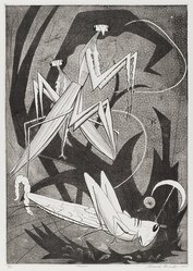 Roderick Mead (American, 1900-1971). Mantis, 1957. Engraving and soft ground etching on paper, image: 15 1/2 x 11 in. (39.4 x 27.9 cm). Brooklyn Museum, Gift of Mrs. Roderick Mead, 61.238.6. © artist or artist's estate