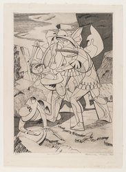 Roderick Mead (American, 1900-1971). Incident, 1947. Engraving and soft ground etching on paper, image: 10 3/8 x 7 1/2 in. (26.4 x 19.1 cm). Brooklyn Museum, Gift of Mrs. Roderick Mead, 61.238.7. © artist or artist's estate