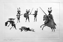Guillermo Silva Santamaria (Colombian, born 1921). Medieval Combats, 1960. Embossed engraving on paper, sheet: 12 15/16 x 19 15/16 in. (32.9 x 50.6 cm). Brooklyn Museum, Carll H. de Silver Fund, 61.5.9. © artist or artist's estate