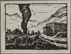 Ma Dah. Steel Refinery, ca. 1945. Woodcut, 5 5/16 x 7 5/16 in. (13.5 x 18.5 cm). Brooklyn Museum, Anonymous gift, 62.111.1