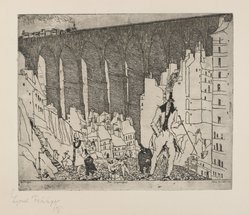 Lyonel Feininger (American, 1871-1956). The Disparagers, 1911. Etching on tan laid paper, Image: 8 9/16 x 10 3/8 in. (21.7 x 26.3 cm). Brooklyn Museum, Dick S. Ramsay Fund, 62.59.1. © artist or artist's estate