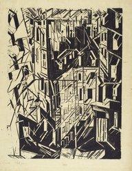 Lyonel Feininger (American, 1871-1956). Houses in Paris (Hauser in Paris), 1918. Woodcut on Kozo paper, Image: 21 7/16 x 16 1/2 in. (54.5 x 41.9 cm). Brooklyn Museum, Dick S. Ramsay Fund, 62.59.2. © artist or artist's estate