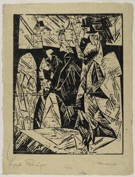 Lyonel Feininger (American, 1871-1956). Promenaders (Spaziergauger), 1918. Woodcut on (imitation) Japan paper, Image: 14 9/16 x 11 1/2 in. (37 x 29.2 cm). Brooklyn Museum, Dick S. Ramsay Fund, 62.59.3. © artist or artist's estate