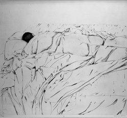 Beth van Hoesen (American, born 1926). Nap, 1961. Drypoint on paper, 17 1/2 x 19 1/4 in. (44.5 x 48.9 cm). Brooklyn Museum, Dick S. Ramsay Fund, 62.88.1. © artist or artist's estate