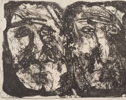 Leslie R. Krims (American,). Heads of Stone, 1963. Lithograph, Sheet: 16 1/8 x 20 in. (41 x 50.8 cm). Brooklyn Museum, Gift of Seong Moy, 63.109.11. © artist or artist's estate