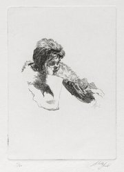 Shelly Fink (American,). Untitled (Woman with Hand to Cheek) 1962, 1962. Etching, 4 1/2 x 3 1/4 in. (11.4 x 8.3 cm). Brooklyn Museum, Dick S. Ramsay Fund, 63.110.1. © artist or artist's estate