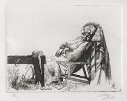 Shelly Fink (American,). Untitled (Woman Asleep in Chair) 1962, 1962. Etching, 3 1/2 x 4 5/8 in. (8.9 x 11.7 cm). Brooklyn Museum, Dick S. Ramsay Fund, 63.110.2. © artist or artist's estate