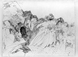 Dietmar Lemcke (German, born 1930). Italina Landscape, 1961. Pen and ink on paper, sheet: 19 1/4 x 24 7/8 in. (48.9 x 63.2 cm). Brooklyn Museum, Carll H. de Silver Fund, 63.112.1. © artist or artist's estate