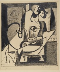 Arshile Gorky (American, born Armenia, 1904-1948). Painter and Model, 1931. Lithograph on wove paper, Sheet: 11 1/4 x 9 7/8 in. (28.6 x 25.1 cm). Brooklyn Museum, Dick S. Ramsay Fund, 63.116.5. © artist or artist's estate