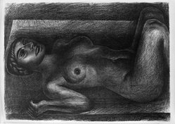 David Alfaro Siqueiros (Mexican, 1896-1974). Reclining Nude, ca. 1930s. Lithograph on paper, 16 x 22 3/4 in. (40.6 x 57.8 cm). Brooklyn Museum, Dick S. Ramsay Fund, 63.116.6. © artist or artist's estate