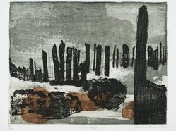 Kathan Brown (American, born 1935). River Edge, 1962. Etching in color on paper, 11 1/4 x 14 1/2 in. (28.6 x 36.8 cm). Brooklyn Museum, Frederick Loeser Fund, 63.13.7. © artist or artist's estate