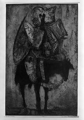 Dean Meeker (American, 1920-2002). Genghis Khan, 1962. Intaglio (the plate for this print was developed on an aluminum base with Polymar.  Silk-screen color was used., image: 27 3/4 x 17 3/4 in. (70.5 x 45.1 cm). Brooklyn Museum, Dick S. Ramsay Fund, 63.17.3. © artist or artist's estate