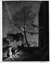 Martin Lewis (American, born Australia, 1883-1962). Tree, Manhattan, 1930. Drypoint and sand ground on paper, image: 12 7/8 x 9 7/8 in. (32.7 x 25.1 cm). Brooklyn Museum, Gift of Mrs. Dudley Nichols in memory of her husband, 63.204.13. © artist or artist's estate