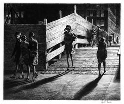 Martin Lewis (American, born Australia, 1883-1962). Fifth Avenue Bridge, 1928. Drypoint on paper, sheet: 13 7/16 x 15 1/2 in. (34.1 x 39.4 cm). Brooklyn Museum, Gift in memory of Dudley Nichols, 63.204.20. © artist or artist's estate