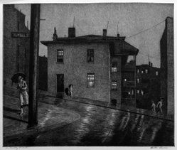 Martin Lewis (American, born Australia, 1883-1962). Trumbull St. Hartford, Conn., 1935. Etching on paper, sheet: 14 5/16 x 17 in. (36.4 x 43.2 cm). Brooklyn Museum, Gift of Mrs. Dudley Nichols in memory of her husband, 63.204.24. © artist or artist's estate