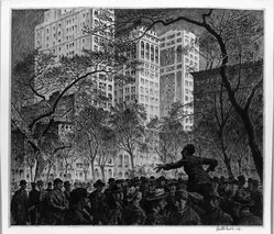 Martin Lewis (American, born Australia, 1883-1962). Orator, Mad. Sq., 1916. Etching on paper, image: 10 7/8 x 12 5/8 in. (27.6 x 32.1 cm). Brooklyn Museum, Gift of Mrs. Dudley Nichols in memory of her husband, 63.204.33. © artist or artist's estate