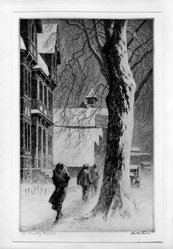 Martin Lewis (American, born Australia, 1883-1962). Winter on White St. Danbury, n.d. Etching on paper, image: 10 7/8 x 6 7/8 in. (27.6 x 17.5 cm). Brooklyn Museum, Gift of Mrs. Dudley Nichols in memory of her husband, 63.204.8. © artist or artist's estate