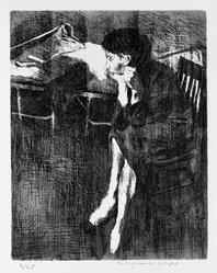 Raphael Soyer (American, born Russia, 1899-1987). Untitled (Girl Sitting), 1963. Etching and aquatint on paper, 10 x 8 in. (25.4 x 20.3 cm). Brooklyn Museum, Dick S. Ramsay Fund, 63.209. © Estate of Raphael Soyer