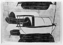 Chalood Nimsamer (Thai, born 1929). Untitled (Boats), 1962. Woodcut on paper, 14 x 19 5/8 in. (35.6 x 49.8 cm). Brooklyn Museum, Carll H. de Silver Fund, 63.66.1. © artist or artist's estate