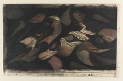 Hoshi Joichi (Japanese). A Violence, 1962. Woodcut, 9 13/16 x 29 1/2 in. (25 x 75 cm). Brooklyn Museum, Carll H. de Silver Fund, 63.67.7. © artist or artist's estate