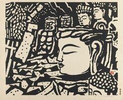 Hiratsuka Unichi (Japanese). Stone Buddha at Usuki. Woodcut, 14 3/4 x 17 11/16 in. (37.5 x 45 cm). Brooklyn Museum, Carll H. de Silver Fund, 63.68.12. © artist or artist's estate