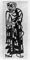 Munakata Shiko (Japanese, 1903-1975). Anaritsu (Aniruddha), ca. 1939. Woodcut on paper, 35 1/2 x 12 1/8 in. (90.2 x 30.8 cm). Brooklyn Museum, Carll H. de Silver Fund, 63.68.5. © artist or artist's estate