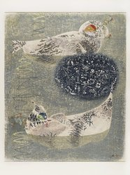 Hatsuyama Shigeru (Japanese). Floating Sleep (Summer Birds), 1962. Woodcut, stencil, 28 3/8 x 23 3/4 in. (72 x 60.3 cm). Brooklyn Museum, Carll H. de Silver Fund, 63.68.6. © artist or artist's estate