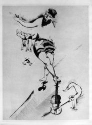 Marc Chagall (French, born Russia, 1887-1985). Acrobat with Violin, 1925. Etching and drypoint on heavy wove paper, 16 1/2 x 12 1/2 in. (41.9 x 31.8 cm). Brooklyn Museum, Gift of The Louis E. Stern Foundation, Inc., 64.101.136. © artist or artist's estate