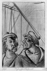 Otto Dix (German, 1891-1969). Technical Staff (Technisches Personal), 1922. Etching and drypoint on wove paper, Image (Plate): 11 13/16 x 7 13/16 in. (30 x 19.8 cm). Brooklyn Museum, Gift of The Louis E. Stern Foundation, Inc., 64.101.148. © artist or artist's estate
