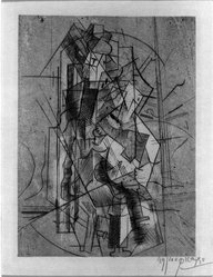 Pablo Picasso (Spanish, 1881-1973). The Guitarist, 1915. Engraving and aquatint on cream wove paper, Sheet: 11 1/8 x 7 7/16 in. (28.3 x 18.9 cm). Brooklyn Museum, Gift of The Louis E. Stern Foundation, Inc., 64.101.295. © artist or artist's estate