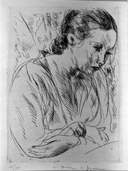 André Dunoyer de Segonzac (French, 1884-1974). Fernande with Hands Crossed, 1923. Etching on wove paper, 7 1/16 x 5 1/8 in. (18 x 13 cm). Brooklyn Museum, Gift of The Louis E. Stern Foundation, Inc., 64.101.305. © artist or artist's estate