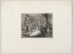 John Sloan (American, 1871-1951). Swinging in the Square, 1912. Etching on cream-colored, medium weight, slightly textured laid paper, Sheet: 8 7/16 x 11 7/16 in. (21.4 x 29.1 cm). Brooklyn Museum, Gift of The Louis E. Stern Foundation, Inc., 64.101.322. © artist or artist's estate
