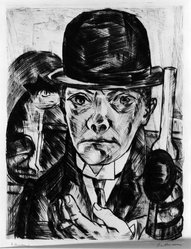 Max Beckmann (German, 1884-1950). Self-Portrait in Bowler Hat (Selbstbildnis mit steifem Hut), 1921. Drypoint on laid paper, Image (Plate): 12 1/2 x 9 7/16 in. (31.8 x 24 cm). Brooklyn Museum, Gift of The Louis E. Stern Foundation, Inc., 64.101.350. © artist or artist's estate