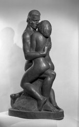 William Zorach (American, born Lithuania, 1887-1966). The Embrace, 1933. Bronze, 64 3/4 x 24 1/2 x 36 in. (164.5 x 62.2 x 91.4 cm). Brooklyn Museum, Purchased with funds given by The Honorable Emil N. Baar, Robert E. Blum, Mrs. Darwin R. James III, Robert A. Morse, Mrs. Louis Nathanson, Mr. and Mrs. Laurance Rockefeller, the Saul and Helen Rosen Foundation, Mrs. Hollis K. Thayer, Dr. John F. Thompson and Elizabeth Thompson and Carll H. de Silver Fund, 64.144. © artist or artist's estate