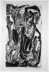 Antonio Frasconi (American, born Argentina, 1919-2013). Self Portrait with Don Quixote, 1949. Woodcut on Japan paper, 33 x 18 5/8 in. (83.8 x 47.3 cm). Brooklyn Museum, Caroline A.L. Pratt Fund, 64.221.1. © artist or artist's estate