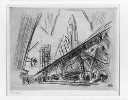John Marin (American, 1870-1953). Downtown New York, 1921. Etching on wove paper, Sheet: 9 1/4 x 11 3/4 in. (23.5 x 29.8 cm). Brooklyn Museum, Charles Stewart Smith Memorial Fund, 64.223. © artist or artist's estate