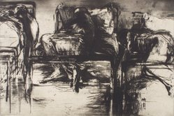 Michael Mazur (American, 1935-2009). Closed Ward No. 14: Three Beds, ca. 1963. Etching on paper, 23 3/4 x 35 1/2 in. (60.3 x 90.2 cm). Brooklyn Museum, Dick S. Ramsay Fund, 64.25. © artist or artist's estate