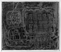 Louise Nevelson (American, born Russia, 1899-1988). Circus Wagon, 1952-1954. Etching in on paper, sheet: 21 x 18 3/4 in. (53.3 x 47.6 cm). Brooklyn Museum, Gift of Louise Nevelson, 65.22.10. © artist or artist's estate