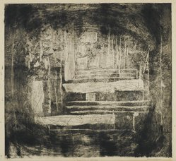 Louise Nevelson (American, born Russia, 1900-1988). Far Away Landscape, 1952-1954. Etching and drypoint on paper, sheet: 23 7/8 x 20 1/8 in. (60.6 x 51.1 cm). Brooklyn Museum, Gift of Louise Nevelson, 65.22.12. © artist or artist's estate