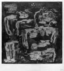 Louise Nevelson (American, born Russia, 1900-1988). In the Land Where the Trees Talk, 1952-1954. Etching and drypoint on paper, sheet: 22 5/8 x 22 3/4 in. (57.5 x 57.8 cm). Brooklyn Museum, Gift of Louise Nevelson, 65.22.14. © artist or artist's estate