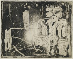 Louise Nevelson (American, born Russia, 1900-1988). Jungle Figures II, 1952-1954. Etching on paper, sheet: 20 3/8 x 25 1/4 in. (51.8 x 64.1 cm). Brooklyn Museum, Gift of Louise Nevelson, 65.22.16. © artist or artist's estate