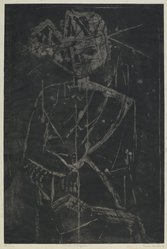 Louise Nevelson (American, born Russia, 1899-1988). Ancient Figure, 1952-1954. Etching and drypoint on paper, sheet: 22 1/4 x 17 1/4 in. (56.5 x 43.8 cm). Brooklyn Museum, Gift of Louise Nevelson, 65.22.1. © artist or artist's estate